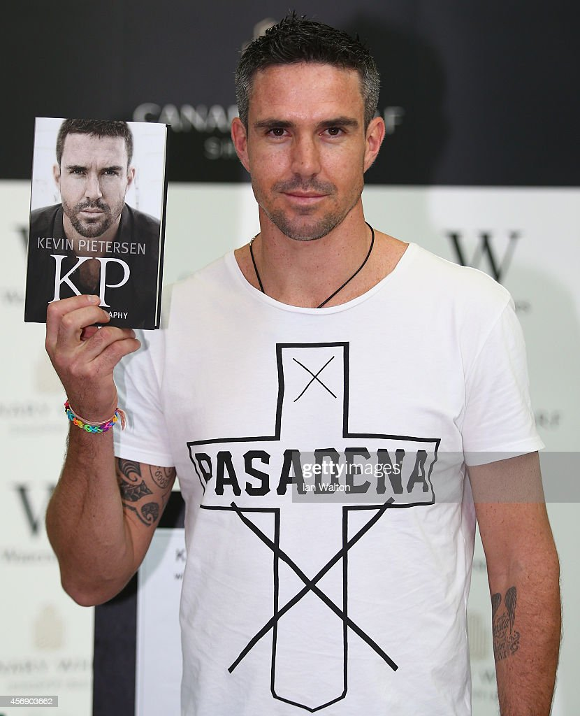 Kevin Pietersen poses during his book signing at Waterstones Canary Wharf Jubilee on October 9, 2014 in London, England.