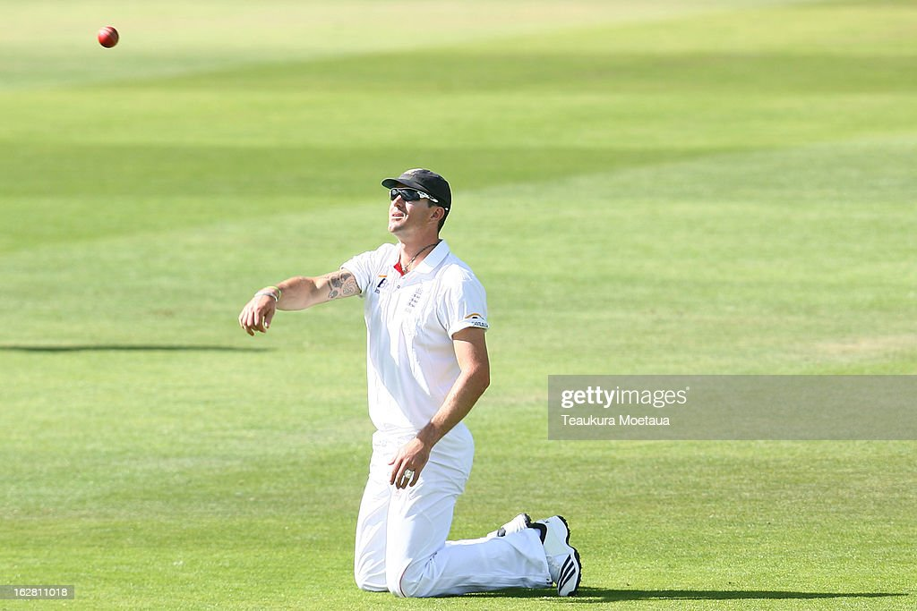 Kevin Pieterson of England fields during day two of the International tour match between the New Zealand XI and England at Queenstown Events Centre on February 28, 2013 in Queenstown, New Zealand.