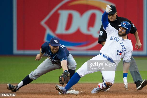 TORONTO ON AUGUST 16 Kevin Pillar of the Blue Jays beats the tag from Tampa's Brad Miller for a double during the 2nd inning of MLB action as the...