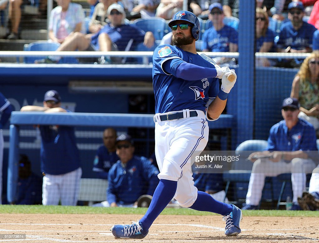 Kevin Pillar #11 of the Toronto Blue Jays at bat in the first inning during the game against the Baltimore Orioles at Florida Auto Exchange Stadium on March 4, 2016 in Dunedin, Florida.