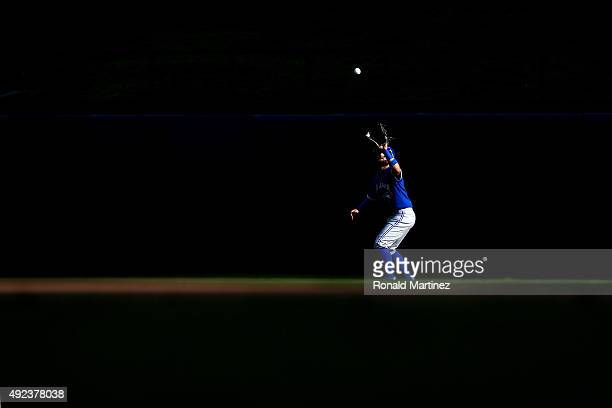 Kevin Pillar of the Toronto Blue Jays catches a ball hit by Rougned Odor of the Texas Rangers in the fifth inning in game four of the American League...