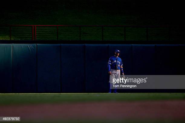 Kevin Pillar of the Toronto Blue Jays in center in the seventh inning while taking on the Texas Rangers in game four of the American League Division...