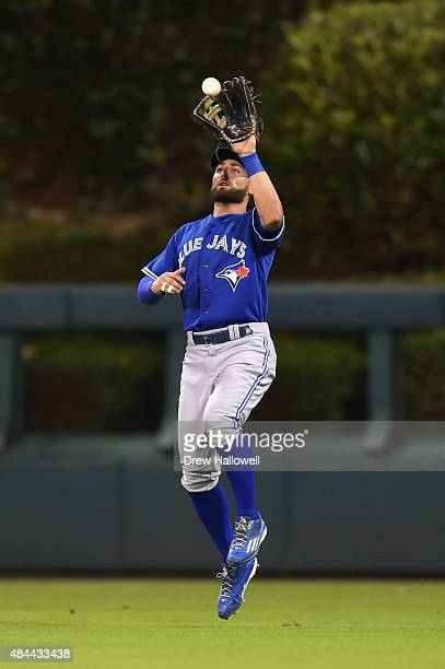 Kevin Pillar of the Toronto Blue Jays jumps to make a catch in the sixth inning against the Philadelphia Phillies at Citizens Bank Park on August 18...