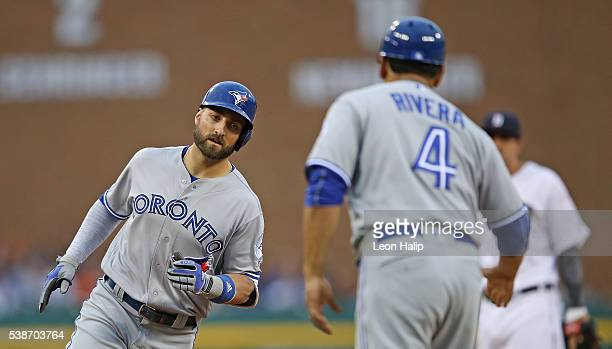 Kevin Pillar of the Toronto Blue Jays rounds third base after hitting a solo home run to left field during the fifth inning of the game against the...