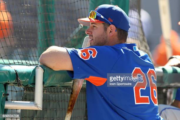 Kevin Plawecki of the Mets watches batting practice before the spring training game between the New York Mets and the Detroit Tigers on March 20 2017...