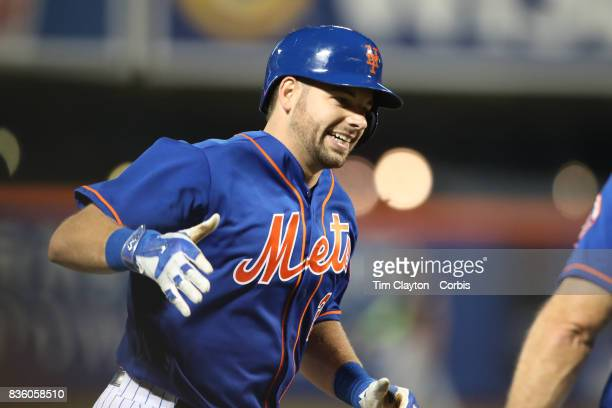 Kevin Plawecki of the New York Mets runs the bases after his two run home run in the sixth inning during the Miami Marlins Vs New York Mets regular...