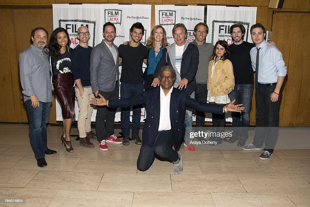 Kevin Pollak, Jurnee Smollett, Jim Rash, Nick Kroll, Taylor Lautner, Judy Greer, Elvis Mitchell, Don Johnson, Nat Faxon, Mae Whitman, Jason Reitman and Jarod Einsohn at the Film Independent at LACMA - 'Boogie Nights' live read directed by Jason Reitman at Bing Theatre At LACMA on October 10, 2013 in Los Angeles, California.