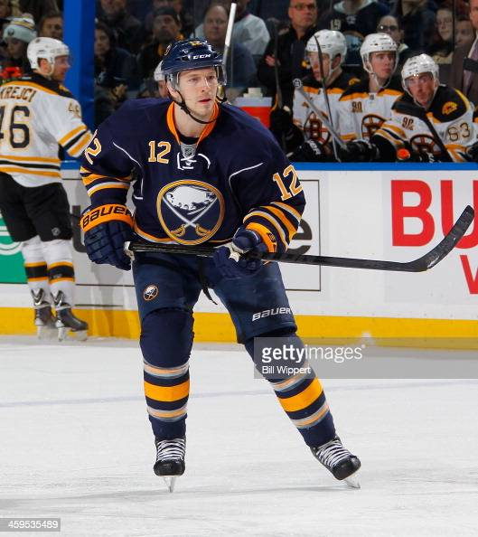 Kevin Porter of the Buffalo Sabres skates against the Boston Bruins on December 19 2013 at the First Niagara Center in Buffalo New York