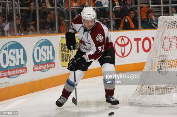 Kevin Porter of the Colorado Avalanche looks to make a pass against the San Jose Sharks in Game Five of the Western Conference Quarterfinals during...