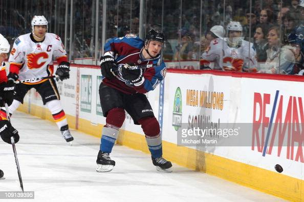 Kevin Porter of the Colorado Avalanche skates against the Calgary Flames at the Pepsi Center on February 14 2011 in Denver Colorado The Avalanche...