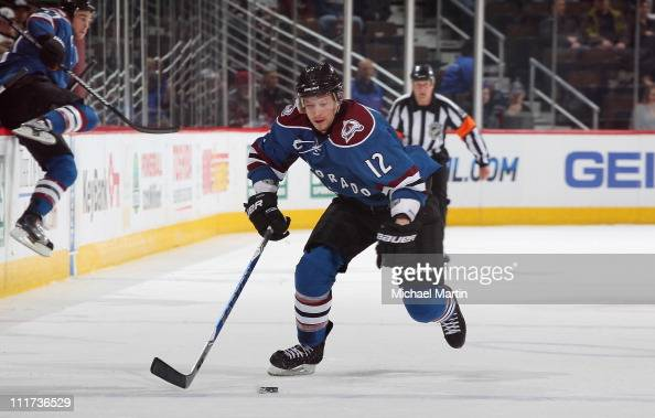 Kevin Porter of the Colorado Avalanche skates against the Calgary Flames at the Pepsi Center on March 31 2011 in Denver Colorado Colorado went on to...