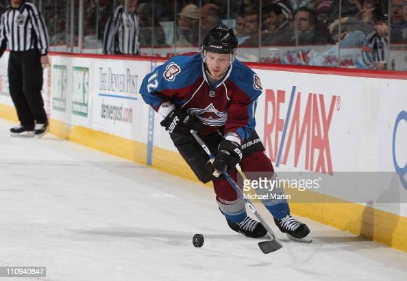 Kevin Porter of the Colorado Avalanche skates against the Columbus Blue Jackets at the Pepsi Center on March 22 2011 in Denver Colorado The Avalanche...