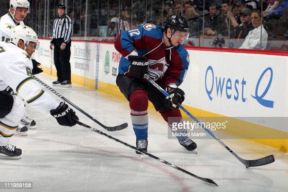 Kevin Porter of the Colorado Avalanche skates against the Dallas Stars at the Pepsi Center on April 08 2011 in Denver Colorado Dallas went on to a 32...
