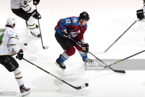 Kevin Porter of the Colorado Avalanche skates against the Dallas Stars at the Pepsi Center on November 28 2011 in Denver Colorado The Stars defeated...