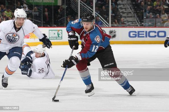 Kevin Porter of the Colorado Avalanche skates against the Edmonton Oilers at the Pepsi Center on March 5 2011 in Denver Colorado The Oilers defeated...