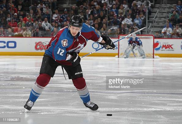 Kevin Porter of the Colorado Avalanche skates against the Edmonton Oilers at the Pepsi Center on April 10 2011 in Denver Colorado The Avalanche won...