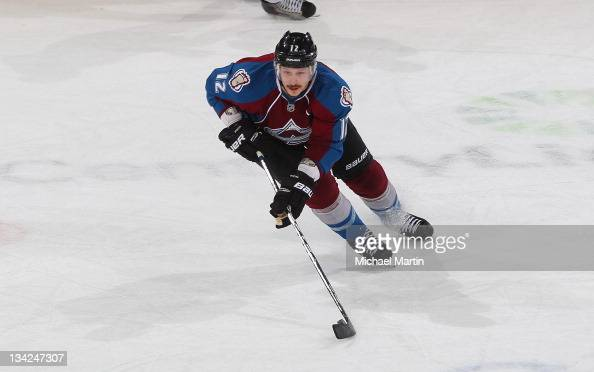 Kevin Porter of the Colorado Avalanche skates against the Edmonton Oilers at the Pepsi Center on November 26 2011 in Denver Colorado The Avalanche...