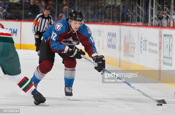 Kevin Porter of the Colorado Avalanche skates against the Minnesota Wild at the Pepsi Center on November 27 2010 in Denver Colorado The Avalanche...