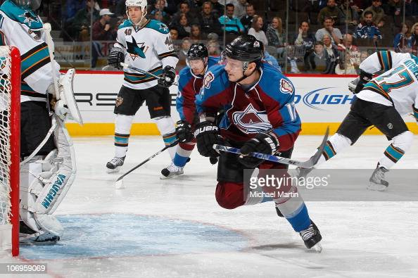Kevin Porter of the Colorado Avalanche skates against the San Jose Sharks at the Pepsi Center on November 17 2010 in Denver Colorado Colorado went on...