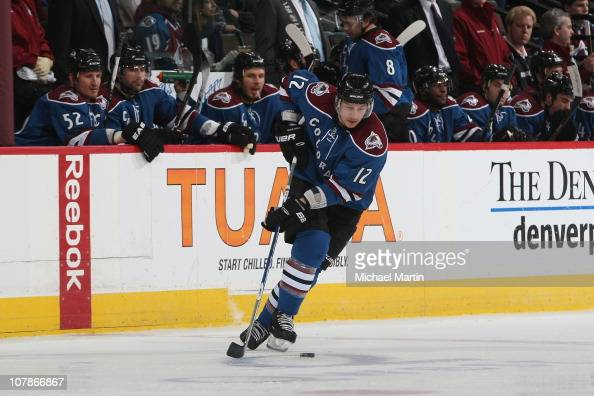 Kevin Porter of the Colorado Avalanche skates against the Vancouver Canucks at the Pepsi Center on January 2 2011 in Denver Colorado The Avalanche...
