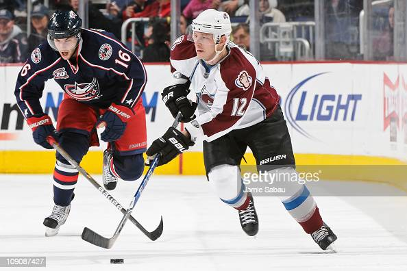 Kevin Porter of the Colorado Avalanche skates with the puck against the Columbus Blue Jackets on February 11 2011 at Nationwide Arena in Columbus...