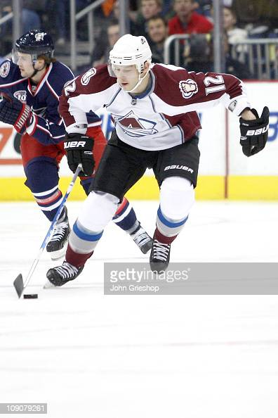 Kevin Porter of the Colorado Avalanche skates with the puck during a game against the Columbus Blue Jackets on February 11 2011 at Nationwide Arena...