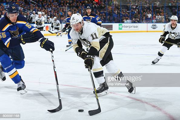 Kevin Porter of the Pittsburgh Penguins shoots the puck against Colton Parayko of the St Louis Blues at the Scottrade Center on January 18 2016 in St...