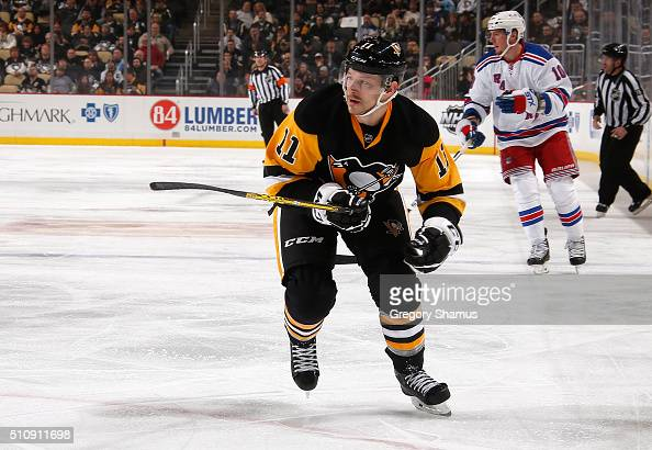 Kevin Porter of the Pittsburgh Penguins skates against the New York Rangers at Consol Energy Center on February 10 2016 in Pittsburgh Pennsylvania