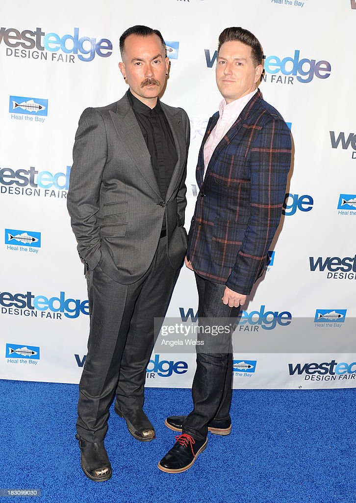 Kevin Posey and Peter Helenek attend the WestEdge Design Fair opening night benefiting Heal the Bay at Barker Hangar on October 3, 2013 in Santa Monica, California.
