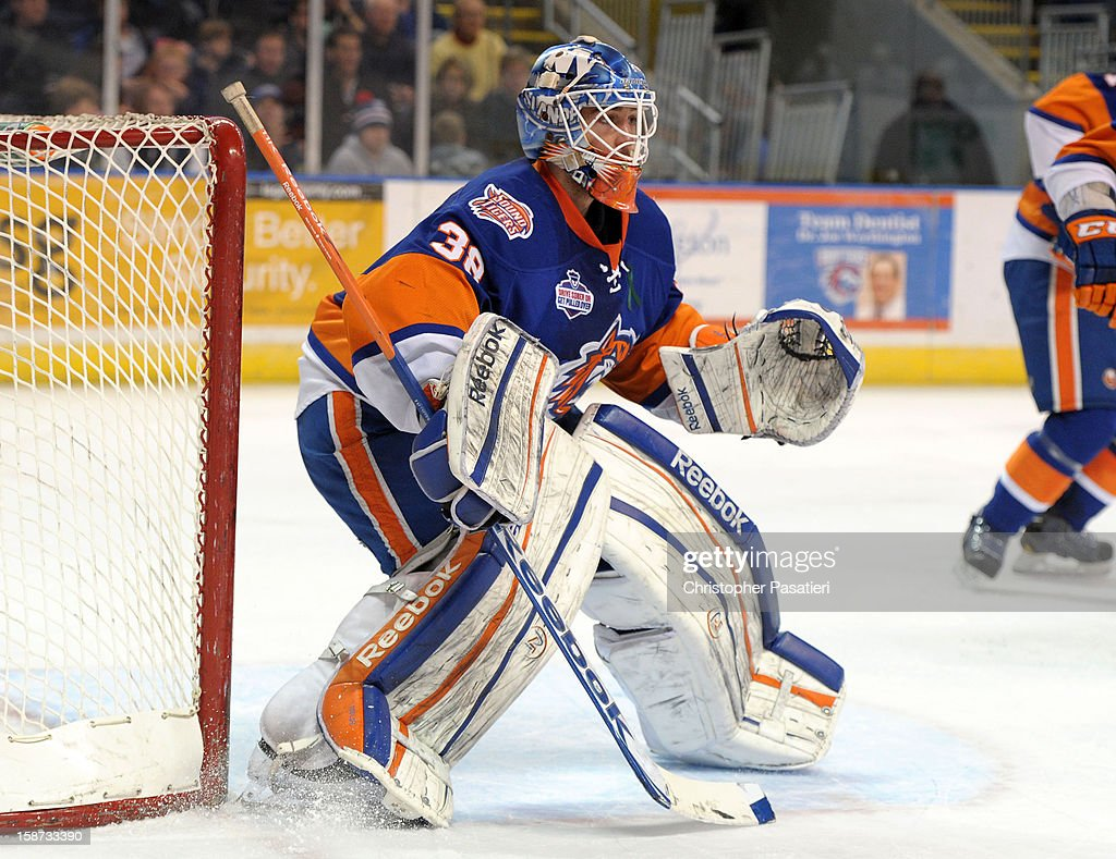 Kevin Poulin #38 of the Bridgeport Sound Tigers looks on as he tends goal during an American Hockey League game against the Connecticut Whale on December 26, 2012 at the Webster Bank Arena at Harbor Yard in Bridgeport, Connecticut.