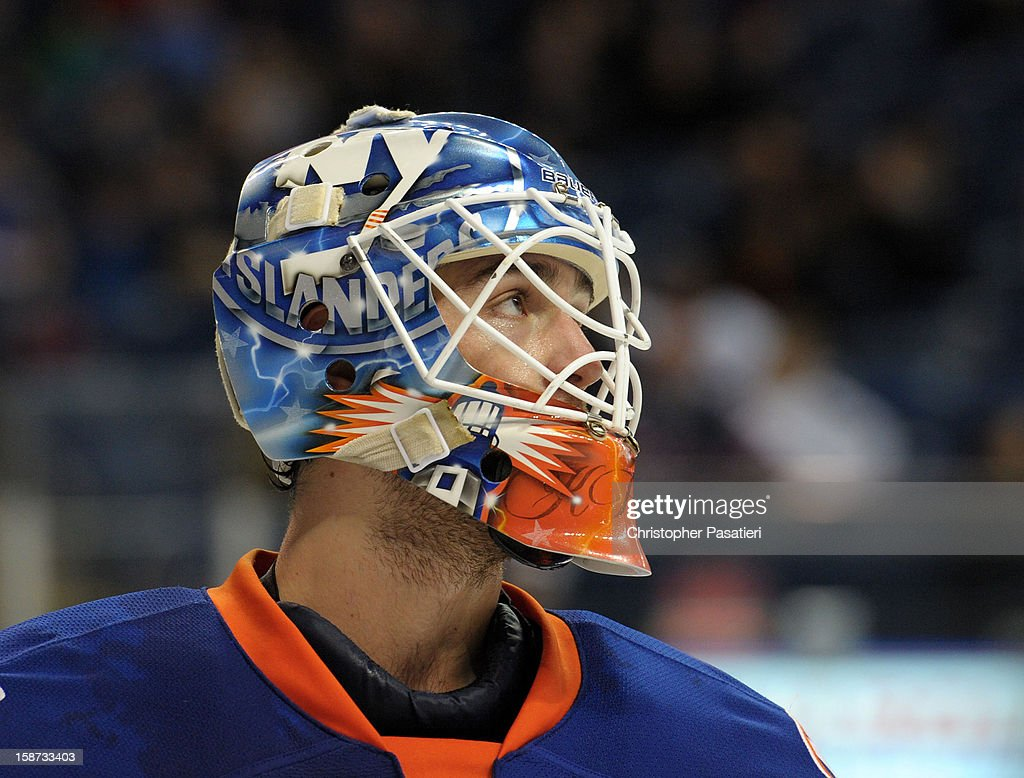 Kevin Poulin #38 of the Bridgeport Sound Tigers looks on during an American Hockey League game against the Connecticut Whale on December 26, 2012 at the Webster Bank Arena at Harbor Yard in Bridgeport, Connecticut.