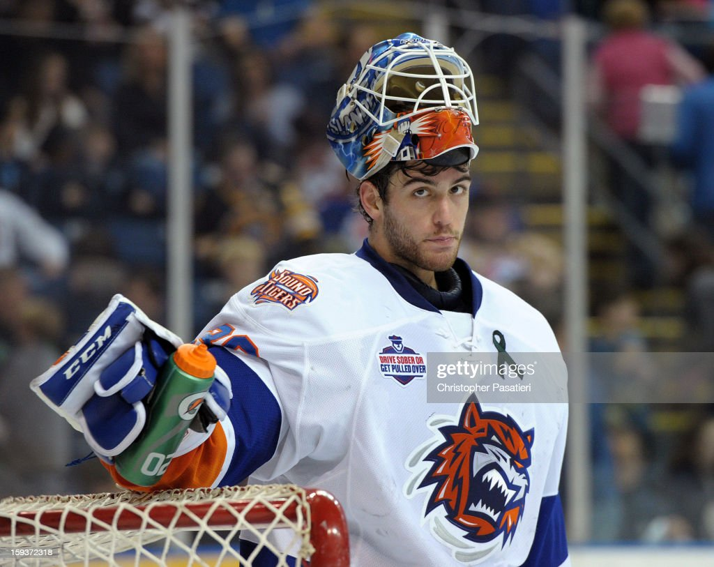 Kevin Poulin #38 of the Bridgeport Sound Tigers looks on during an American Hockey League game against the Portland Pirates on January 12, 2013 at the Webster Bank Arena at Harbor Yard in Bridgeport, Connecticut.
