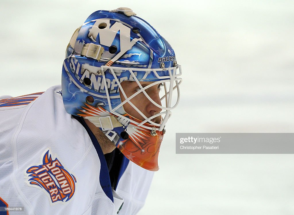 Kevin Poulin #38 of the Bridgeport Sound Tigers looks on prior to an American Hockey League game against the Providence Bruins on January 31, 2013 at the Webster Bank Arena at Harbor Yard in Bridgeport, Connecticut.