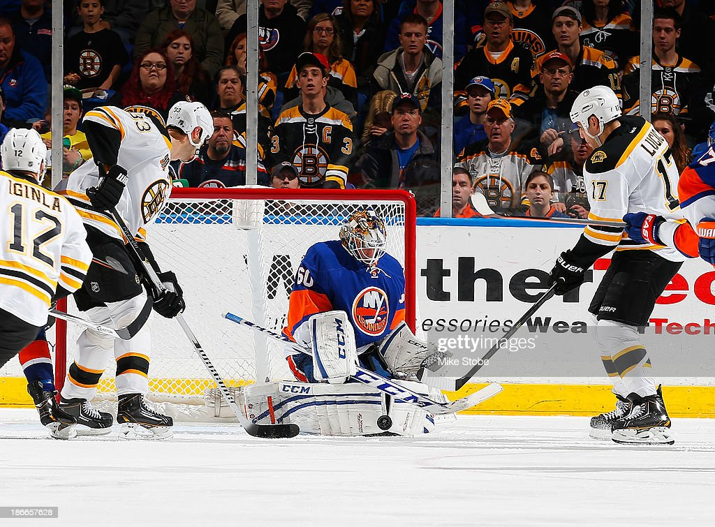 <a gi-track='captionPersonalityLinkClicked' href=/galleries/search?phrase=Kevin+Poulin&family=editorial&specificpeople=4952456 ng-click='$event.stopPropagation()'>Kevin Poulin</a> #60 of the New York Islanders defends the net against <a gi-track='captionPersonalityLinkClicked' href=/galleries/search?phrase=Milan+Lucic&family=editorial&specificpeople=537957 ng-click='$event.stopPropagation()'>Milan Lucic</a> #17 and <a gi-track='captionPersonalityLinkClicked' href=/galleries/search?phrase=Zdeno+Chara&family=editorial&specificpeople=203177 ng-click='$event.stopPropagation()'>Zdeno Chara</a> #33 of the Boston Bruins at Nassau Veterans Memorial Coliseum on November 2, 2013 in Uniondale, New York.