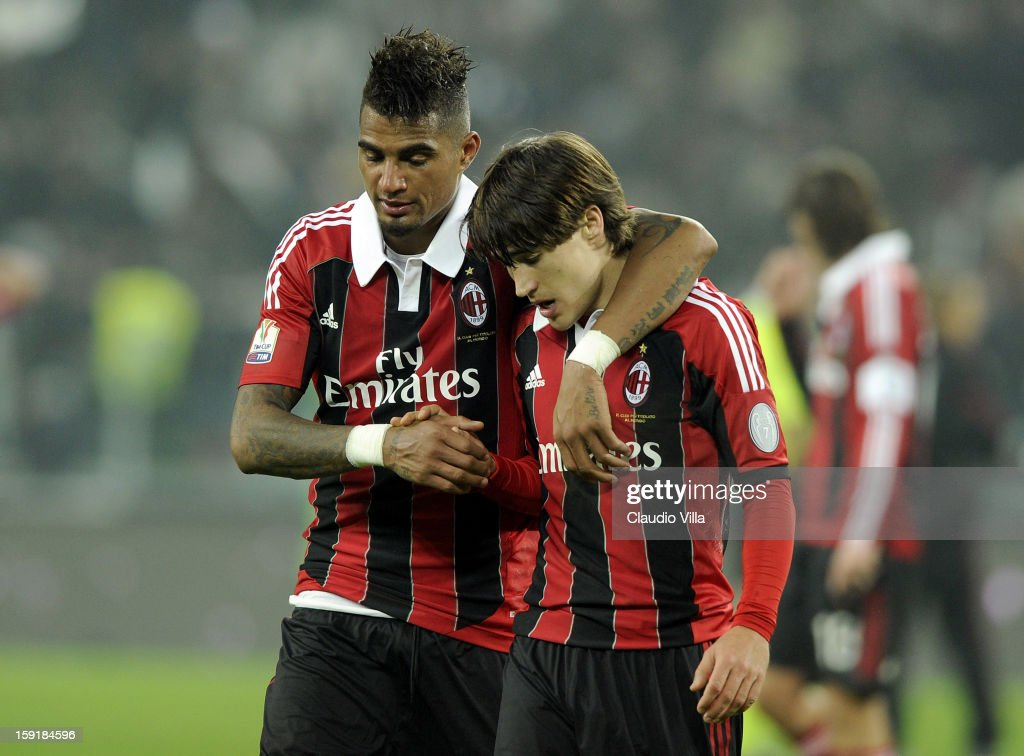 Kevin Prince Boateng (L) and <a gi-track='captionPersonalityLinkClicked' href=/galleries/search?phrase=Bojan+Krkic&family=editorial&specificpeople=4285657 ng-click='$event.stopPropagation()'>Bojan Krkic</a> of AC Milan look dejected after the TIM cup match between Juventus FC and AC Milan at Juventus Arena on January 9, 2013 in Turin, Italy.
