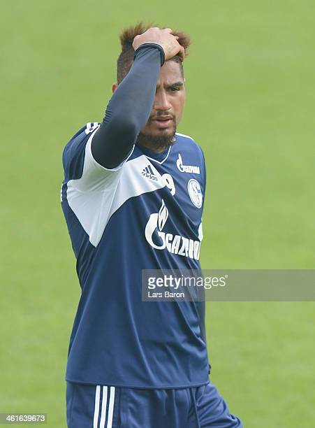 Kevin Prince Boateng looks on during a FC Schalke 04 training session at ASPIRE Academy for Sports Excellence on January 10 2014 in Doha Qatar