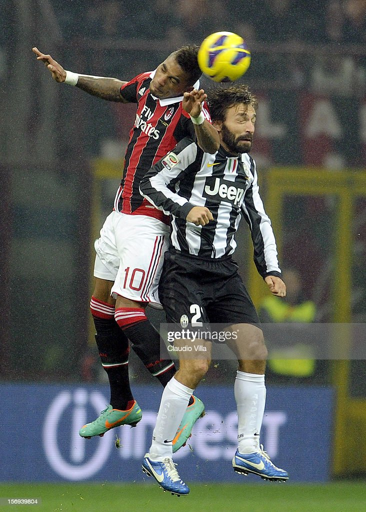 Kevin Prince Boateng of AC Milan and Andrea Pirlo of Juventus FC #21 compete for the ball during the Serie A match between AC Milan and Juventus FC at San Siro Stadium on November 25, 2012 in Milan, Italy.