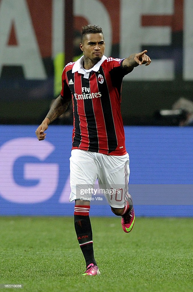 Kevin Prince Boateng of AC Milan celebrates scoring the first goal during the UEFA Champions League Round of 16 first leg match between AC Milan and Barcelona at San Siro Stadium on February 20, 2013 in Milan, Italy.