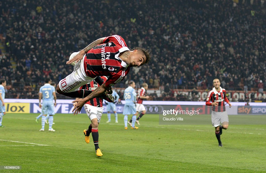 Kevin Prince Boateng of AC Milan celebrates scoring the second goal during the Serie A match between AC Milan and S.S. Lazio at San Siro Stadium on March 2, 2013 in Milan, Italy.