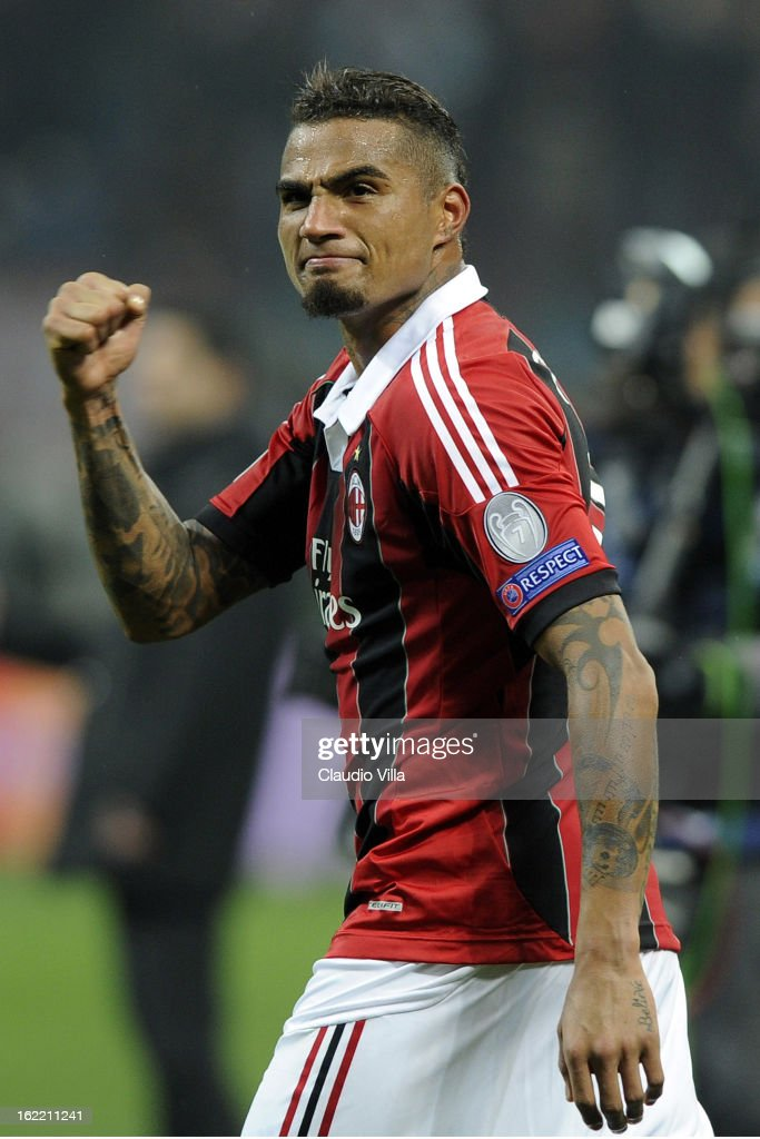 Kevin Prince Boateng of AC Milan celebrates victory at the end of the UEFA Champions League Round of 16 first leg match between AC Milan and Barcelona at San Siro Stadium on February 20, 2013 in Milan, Italy.