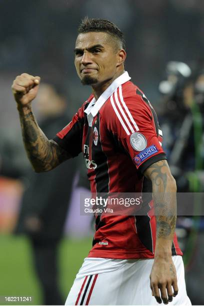 Kevin Prince Boateng of AC Milan celebrates victory at the end of the UEFA Champions League Round of 16 first leg match between AC Milan and...