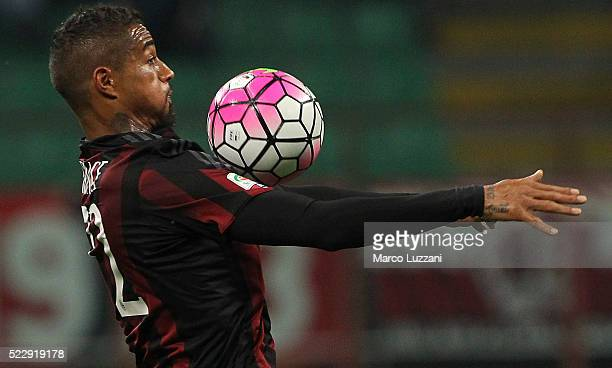 Kevin Prince Boateng of AC Milan controls the ball during the Serie A match between AC Milan and Carpi FC at Stadio Giuseppe Meazza on April 21 2016...