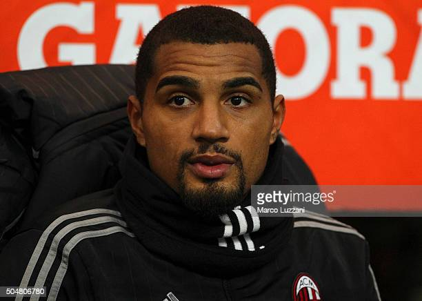 Kevin Prince Boateng of AC Milan looks on before the TIM Cup match between AC Milan and Carpi FC at Stadio Giuseppe Meazza on January 13 2016 in...