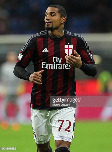 Kevin Prince Boateng of AC Milan looks on during the TIM Cup match between AC Milan and Carpi FC at Stadio Giuseppe Meazza on January 13 2016 in...