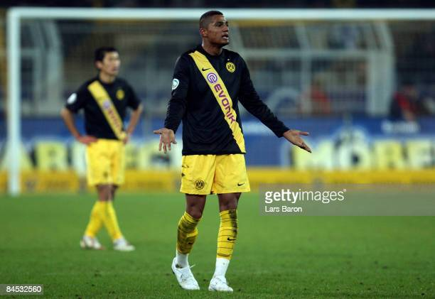 Kevin Prince Boateng of Dortmund gestures during the round of 16 DFB Cup match between Borussia Dortmund and SV Werder Bremen on January 28 2009 in...