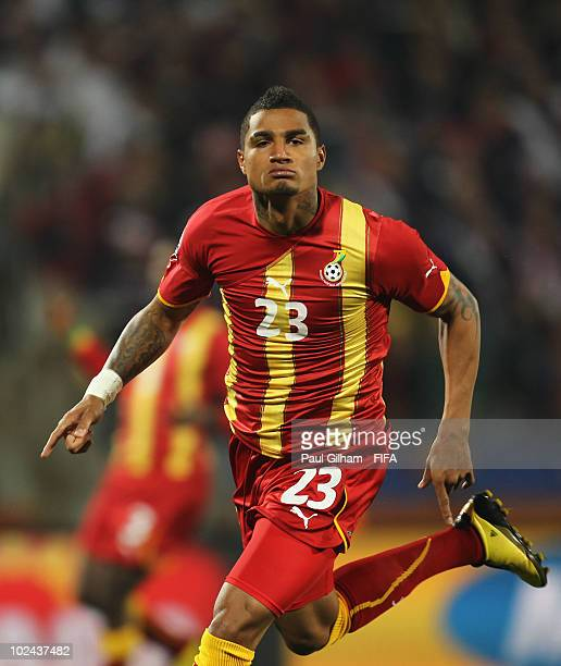 Kevin Prince Boateng of Ghana celebrates after scoring the opening goal during the 2010 FIFA World Cup South Africa Round of Sixteen match between...