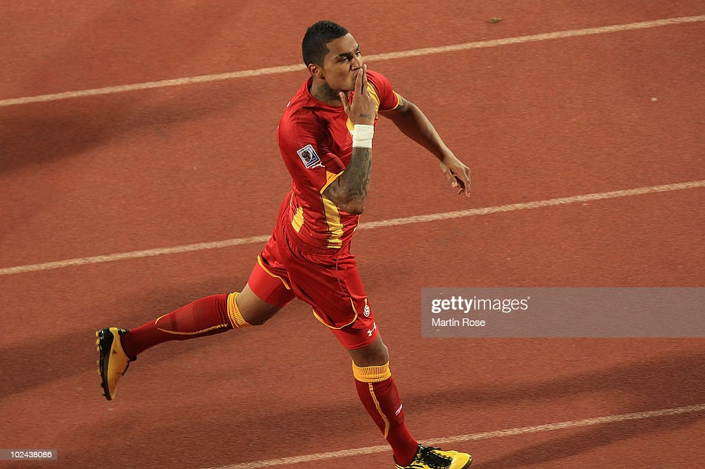 Kevin Prince Boateng of Ghana celebrates scoring the opening goal during the 2010 FIFA World Cup South Africa Round of Sixteen match between USA and...