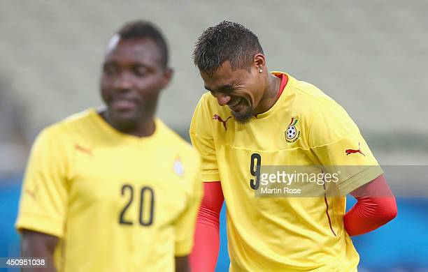 Kevin Prince Boateng of Ghana laughs during the Ghana training session ahead of the 2014 FIFA World Cup Group G match between Germany and Ghana held...