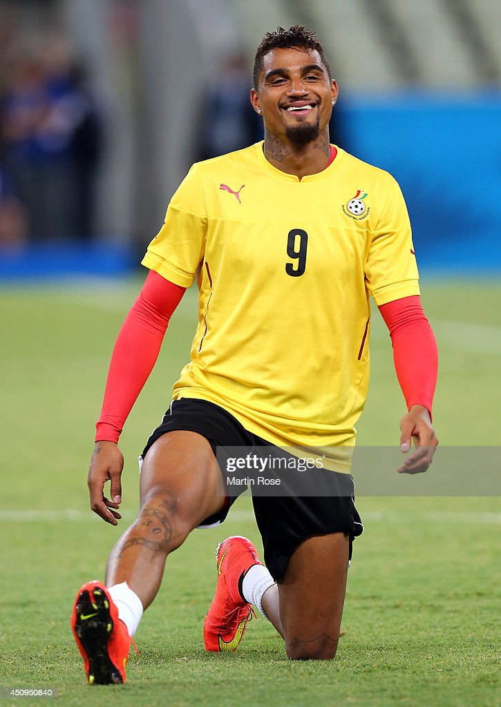 Kevin Prince Boateng of Ghana stretches during the Ghana training session ahead of the 2014 FIFA World Cup Group G match between Germany and Ghana held at Estadio Castelao on June 21, 2014 in Fortaleza, Brazil.
