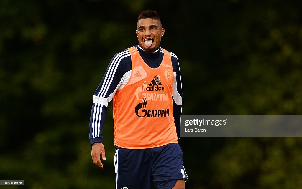 Kevin Prince Boateng reacts during a FC Schalke 04 training session on September 9, 2013 in Gelsenkirchen, Germany.